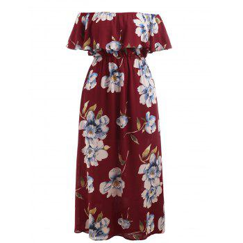 Plus Size Print Ruffle Off Shoulder Dress - RED WINE 4X