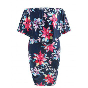Plus Size Knee Length Ruched Popover Dress - CADETBLUE 4X