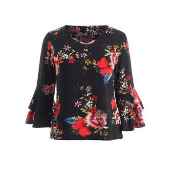 Plus Size Tiered Sleeve Print Blouse - BLACK 2X