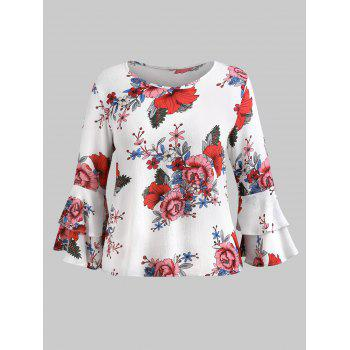 Plus Size Tiered Sleeve Print Blouse - WHITE 1X
