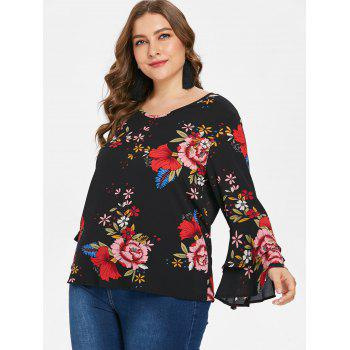 Plus Size Tiered Sleeve Print Blouse - BLACK 3X
