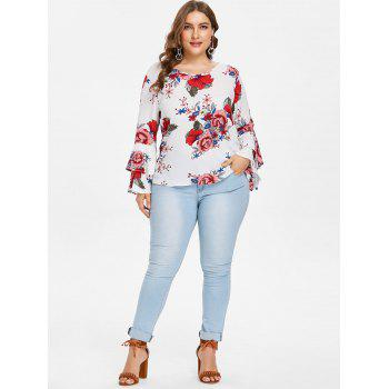 Plus Size Tiered Sleeve Print Blouse - WHITE 2X