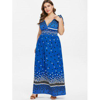 Plus Size High Waisted Surplice Dress - BLUE 2X