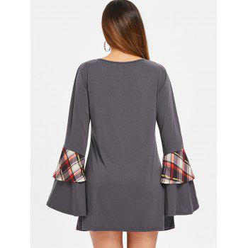 Round Neck Long Sleeve Dress - DARK GRAY L
