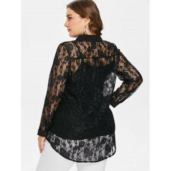 Plus Size Sheer Lace Blouse and Camisole - BLACK 1X