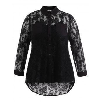 Plus Size Sheer Lace Blouse and Camisole - BLACK 2X