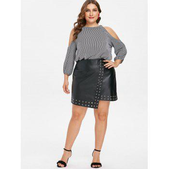 Plus Size Striped Open Shoulder Blouse - BLACK L