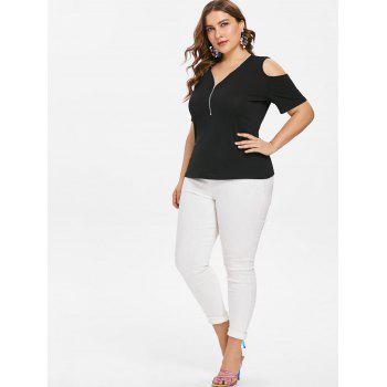 Plus Size Open Shoulder Zipper Insert T-shirt - BLACK 4X