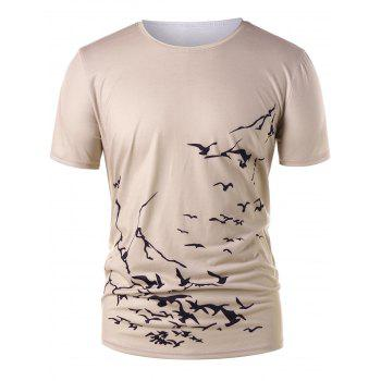 Round Neck Flying Birds Print T-shirt - BLANCHED ALMOND L