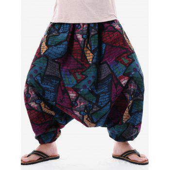 Graffiti Brick Wall Print Casual Harem Pants - BLACK 2XL
