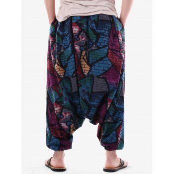 Pantalon Harem Imprimé Graffiti Brick Wall - Noir XL