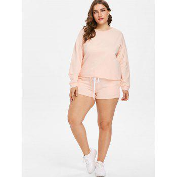 Plus Size Drop Shoulder Tee and Shorts Set - ORANGE PINK 1X