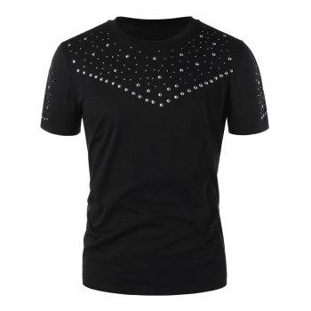 Round Neck Studded T-shirt - BLACK L