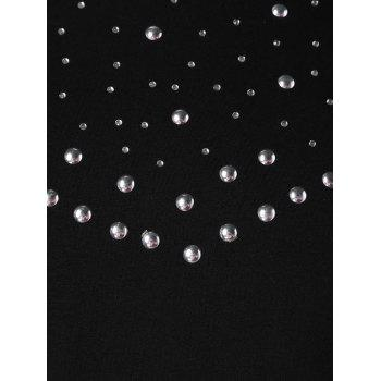 Round Neck Studded T-shirt - BLACK XL