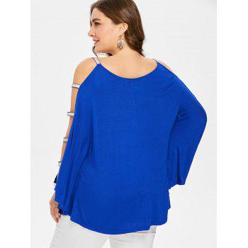 Plus Size Glittery V Neck Batwing Sleeve T-shirt - BLUE 4X