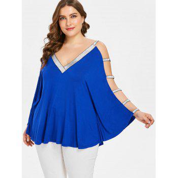 Plus Size Glittery V Neck Batwing Sleeve T-shirt - BLUE 5X