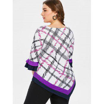 Plus Size Flare Sleeve Plaid T-shirt - multicolor L