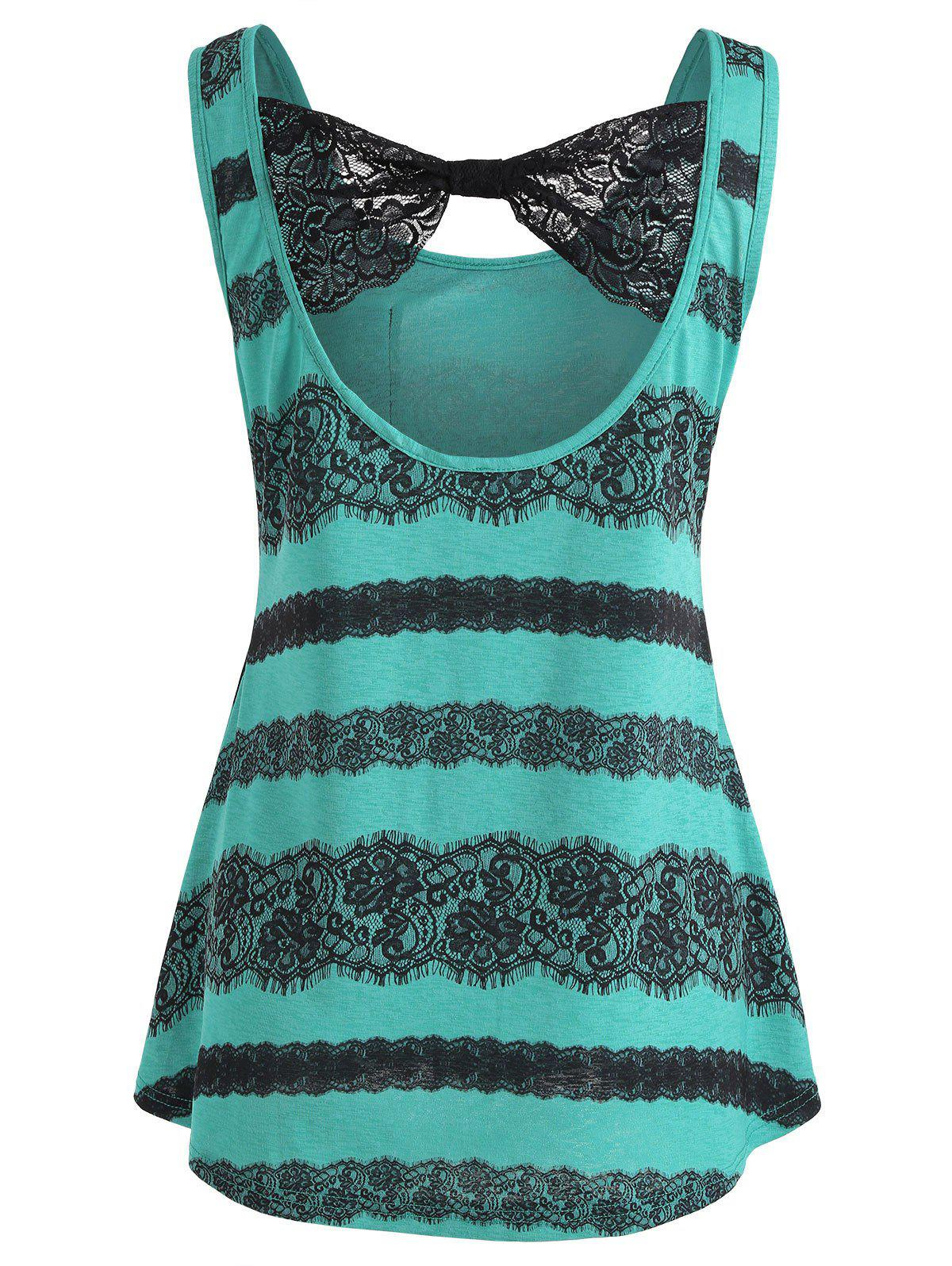 Lace Panel Low Back Tank Top - GREENISH BLUE M