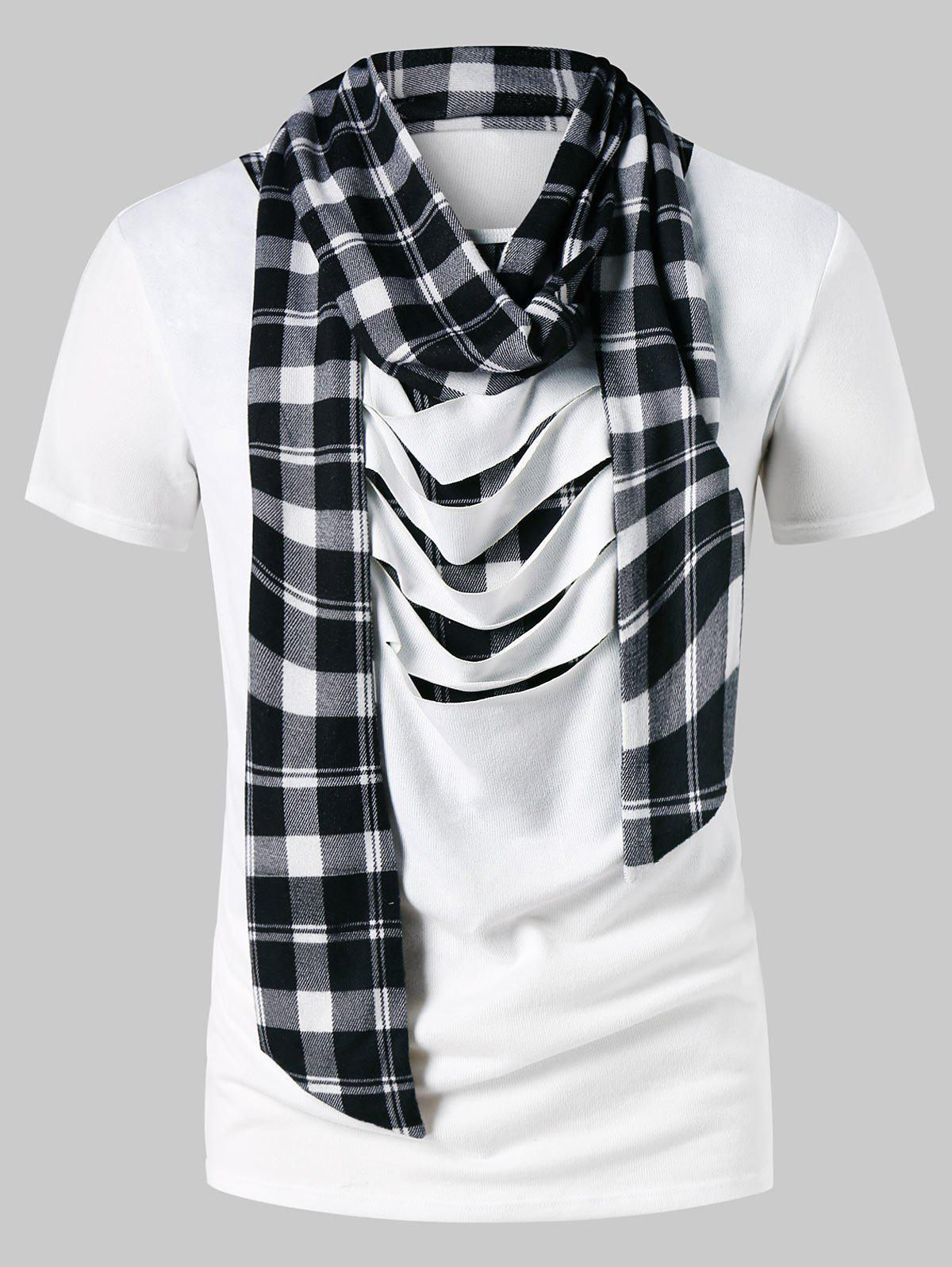 Ripped Scarf Collar Plaid Print T-shirt - WHITE L
