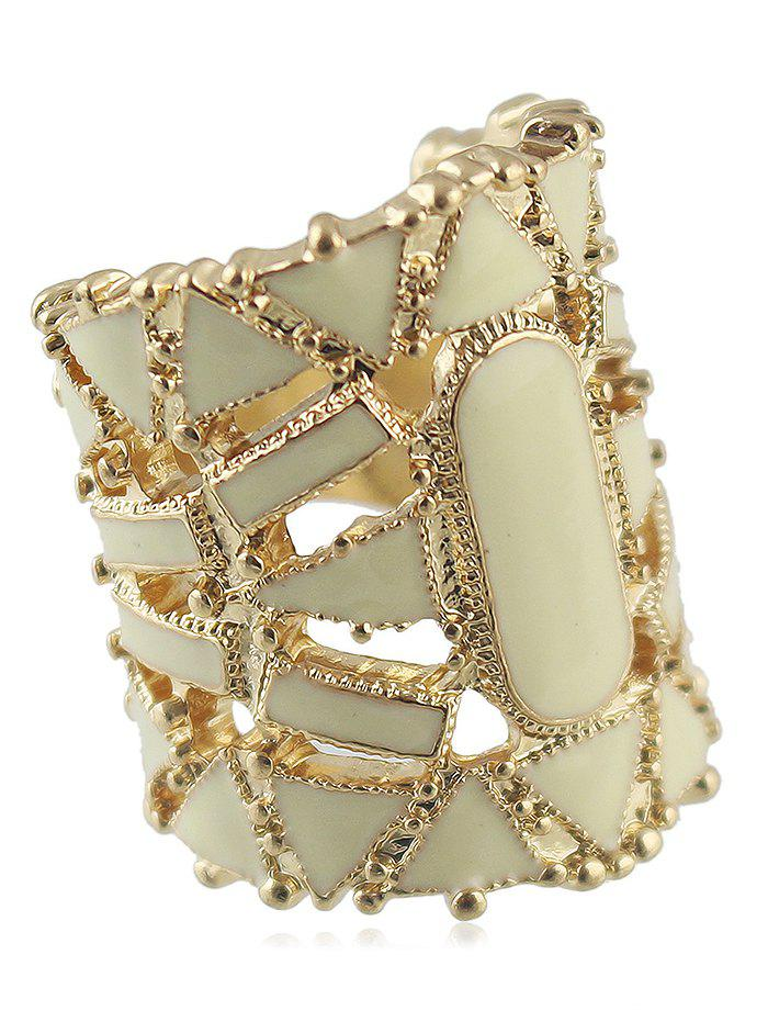 Geometric Shape Hollow out Wide Finger Ring - SAND ONE-SIZE