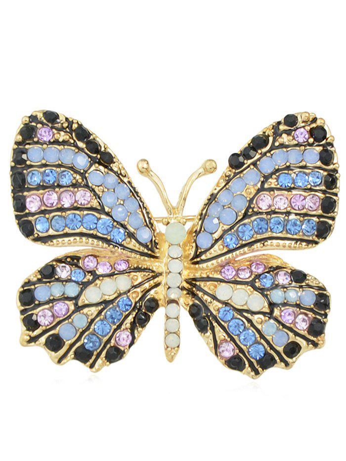 Butterfly Brooch With Rhinestone - BLUE