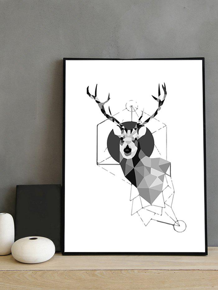 Abstract Deer Head Print Framed Canvas Painting - multicolor 14*20 INCH
