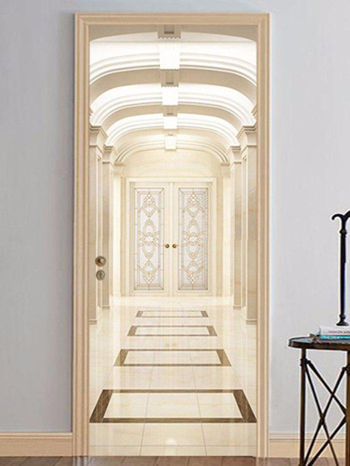Home Decoration Luxury Palace Printed Door Stickers - multicolor 38.5*200CM*2PCS