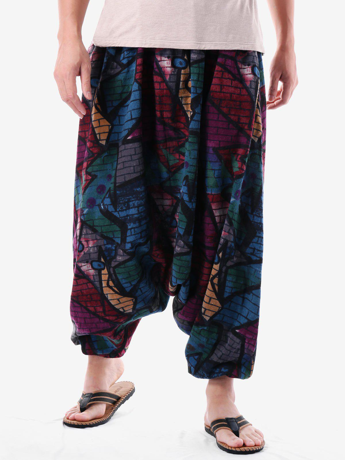 Graffiti Brick Wall Print Casual Harem Pants - BLACK L