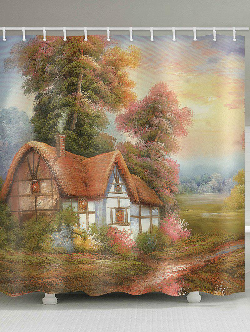 2018 Oil Painting Village House Printed Bath Curtain multicolor W ...