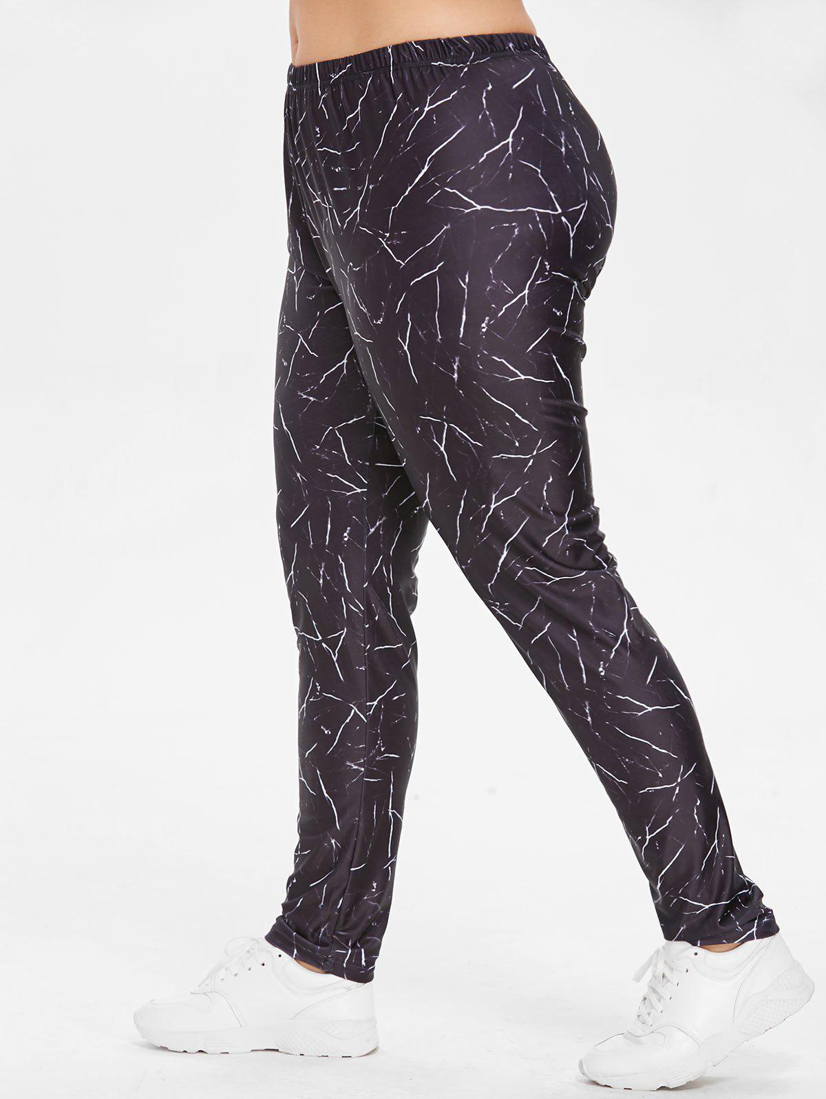 Mid Waist Plus Size Marble Print Leggings - BLACK 1X
