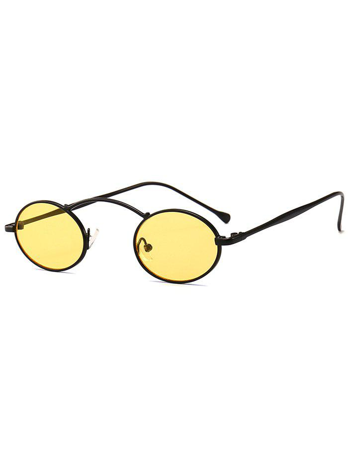 Stylish Metal Frame Oval Novelty Sunglasses - YELLOW