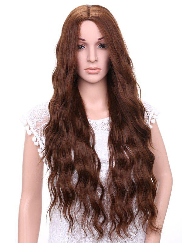 Middle Part Long Natural Wavy Synthetic Party Wig - BROWN
