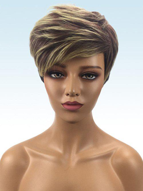 Short Layer Side Bang Straight Colormix Synthetic Wig - multicolor