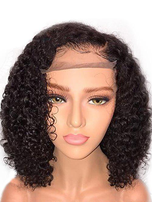 Short Inclined Fringe Curly Synthetic Lace Front Wig - BLACK 14INCH