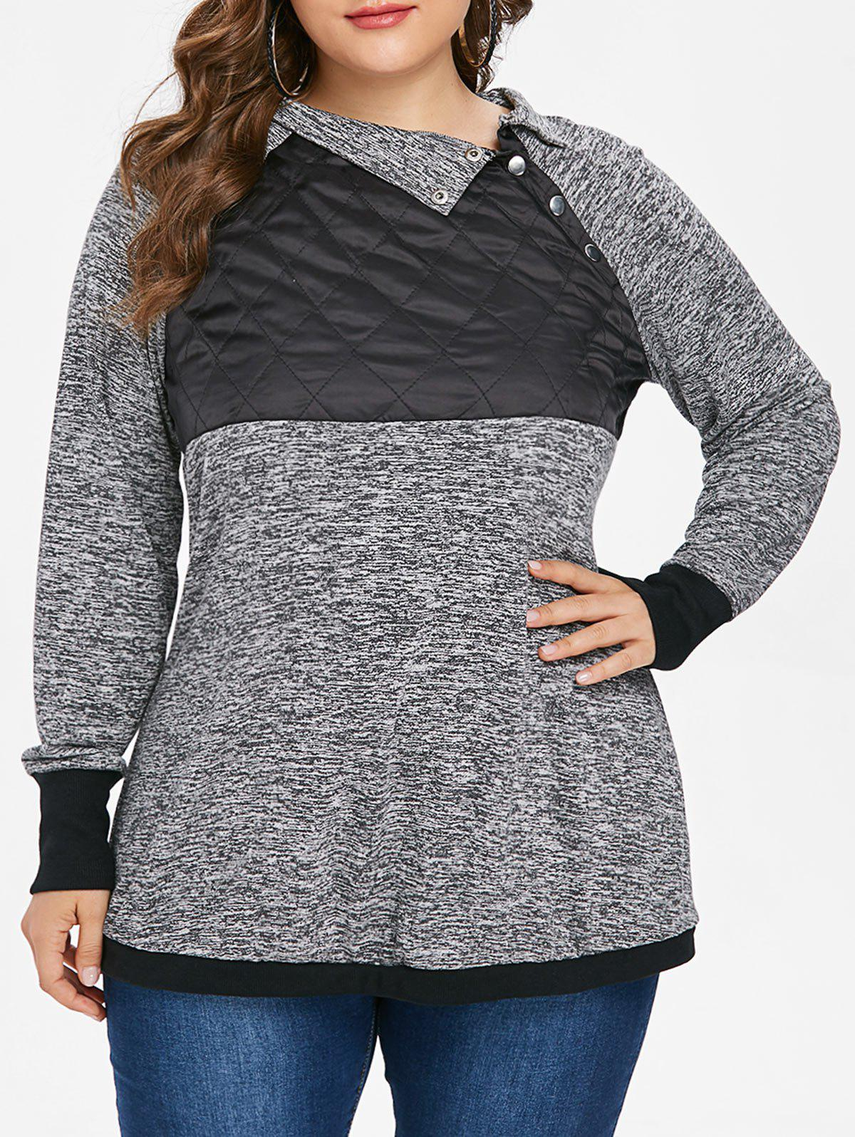 Plus Size Marled Raglan Sleeve T-shirt - DARK GRAY 3X