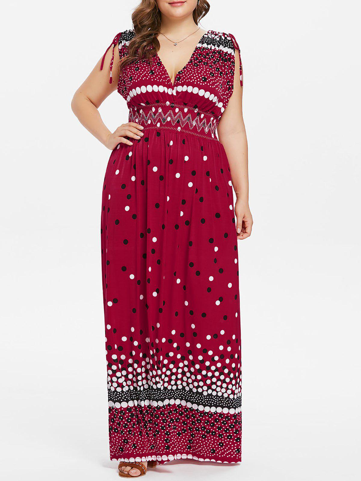 Plus Size High Waisted Surplice Dress - RED 3X