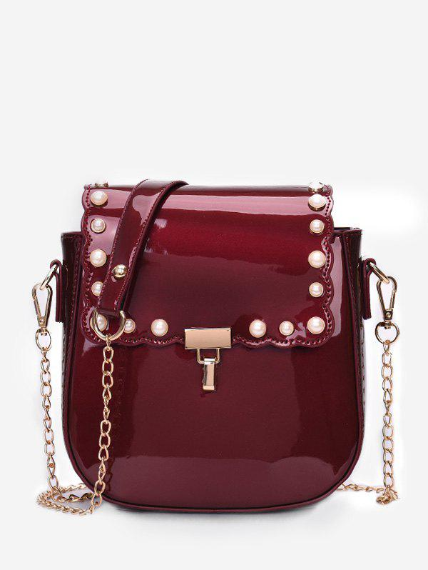 Scallop Flapped Faux Pearl Embellished Crossbody Bag - RED WINE