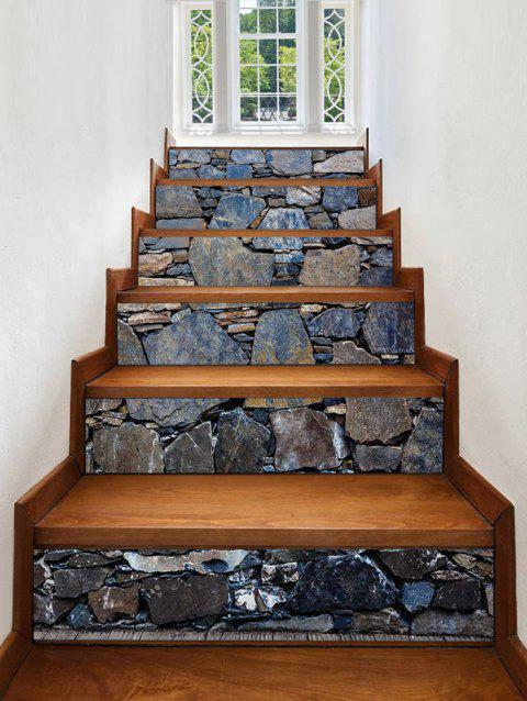 Stone Wall Print Stair Stickers - multicolor 6PCS:39*7 INCH( NO FRAME )