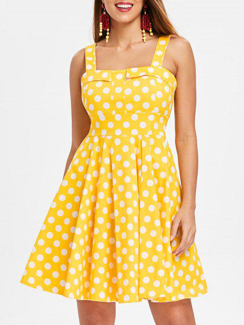 Self Tie Dotted A Line Dress - GOLDEN BROWN M