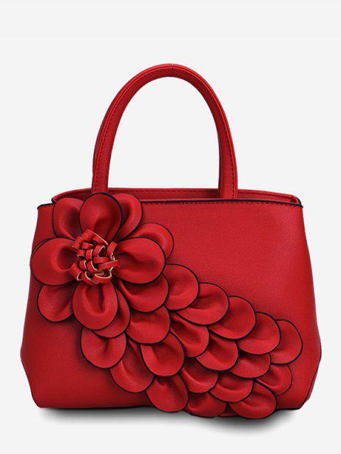 PU Leather Floral Chic Travel Tote Bag - CHESTNUT RED
