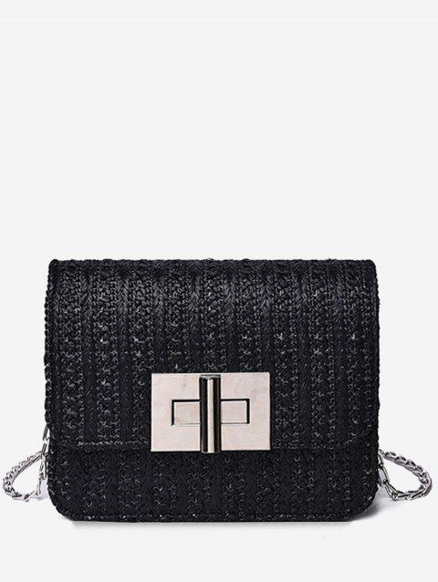 Flap Minimalist Twist Lock Crossbody Bag - BLACK