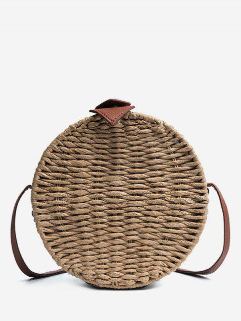 Round Shaped Retro Straw Crossbody Bag - DARK KHAKI