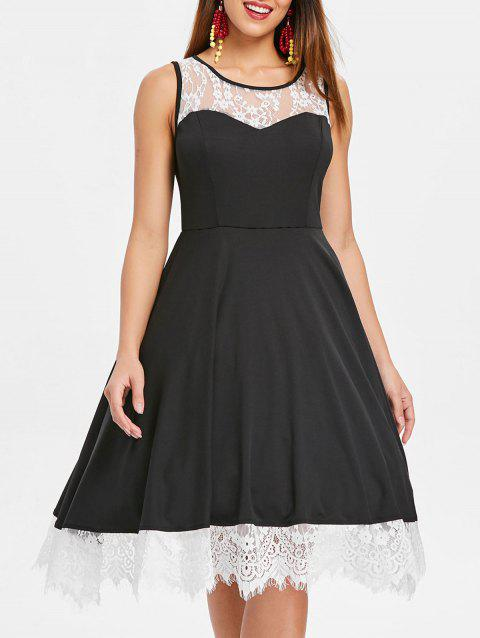 Lace Panel Sleeveless Pin Up Dress - BLACK L