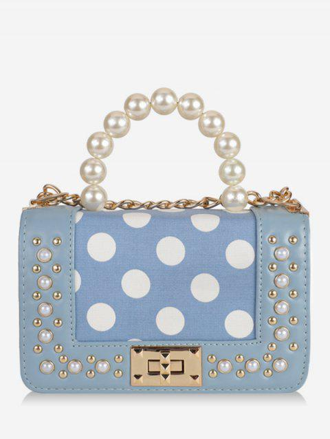 Rivet Decoration PU Leather Shoulder Bag - DENIM BLUE