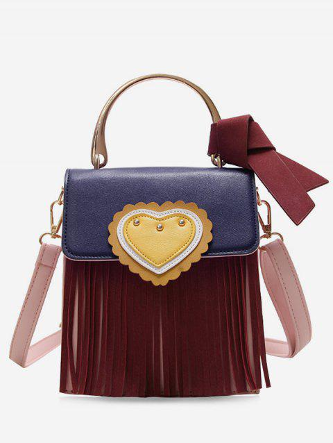 Fringe Color Block Scallop Heart Crossbody Bag - RED WINE