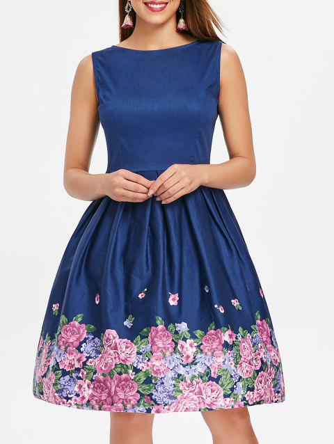 Sleeveless Blossom Cocktail Dress - DEEP BLUE L