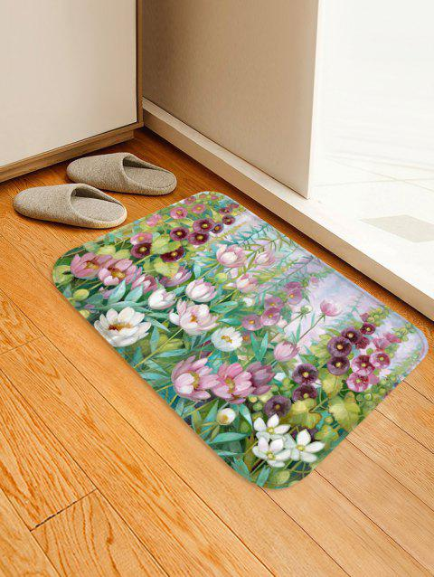 Small Flower Print Anti-skid Floor Mat - LIME GREEN W20 INCH * L31.5 INCH