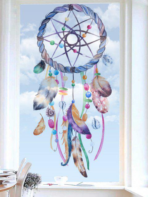 Dream Catcher Print Translucent Frosted Glass Sticker - multicolor 18*23 INCH