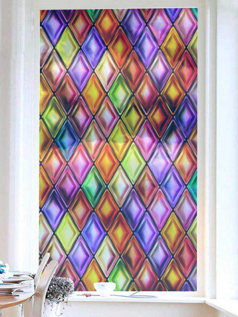 Colorful Geometric Print Translucent Frosted Glass Sticker - multicolor 18*23 INCH