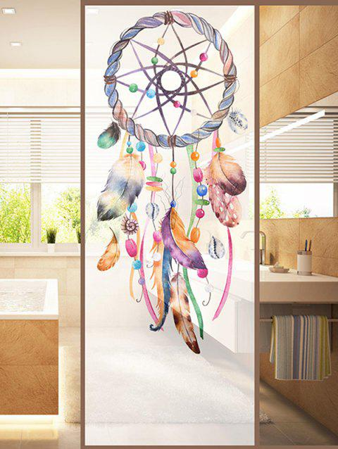 Dream Catcher Print Translucent Frosted Glass Sticker - multicolor 47*23 INCH